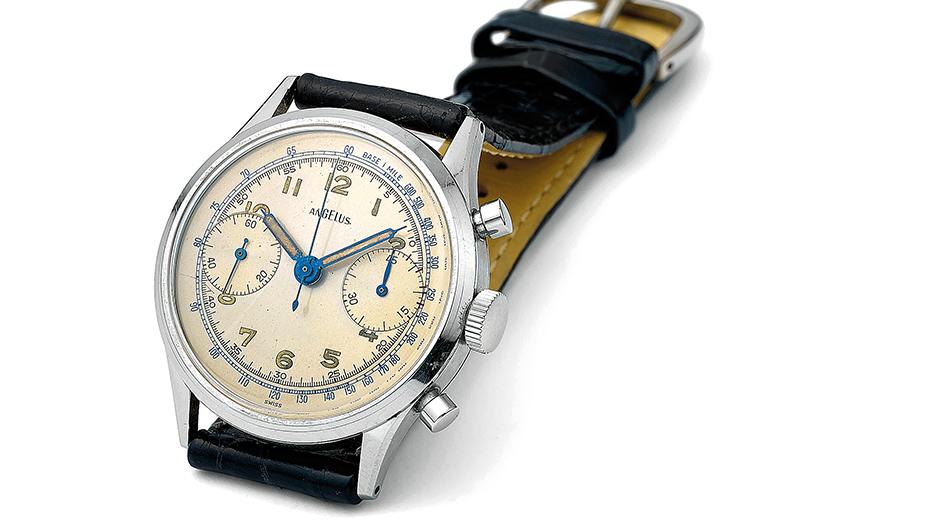 Takimetre ölçekli 1935 yapımı bir Angelus kronograf.