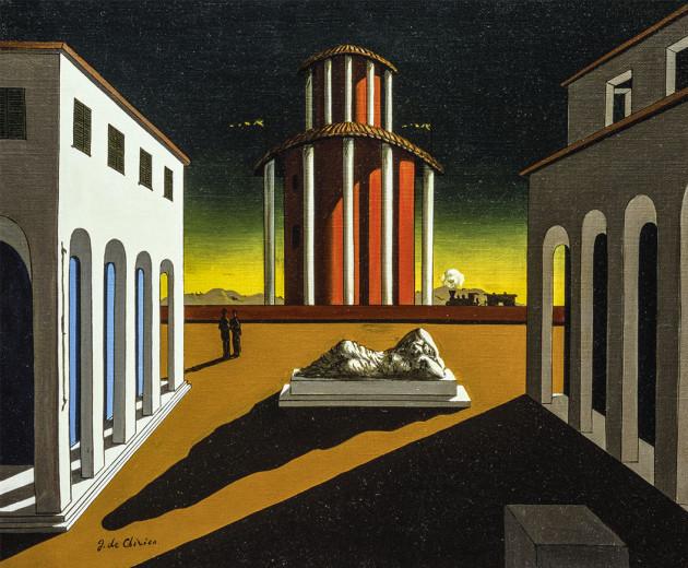Fendi'nin yeni sanat mekanı olan Piazza Italia'nın Giorgio de Chirico imzalı yağlıboya tablosu.