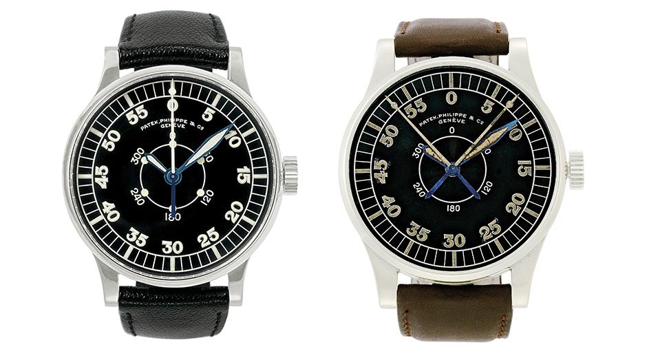 Patek Philippe'in müzesinde yer alan pilot saatleri PO844 ve P1655.
