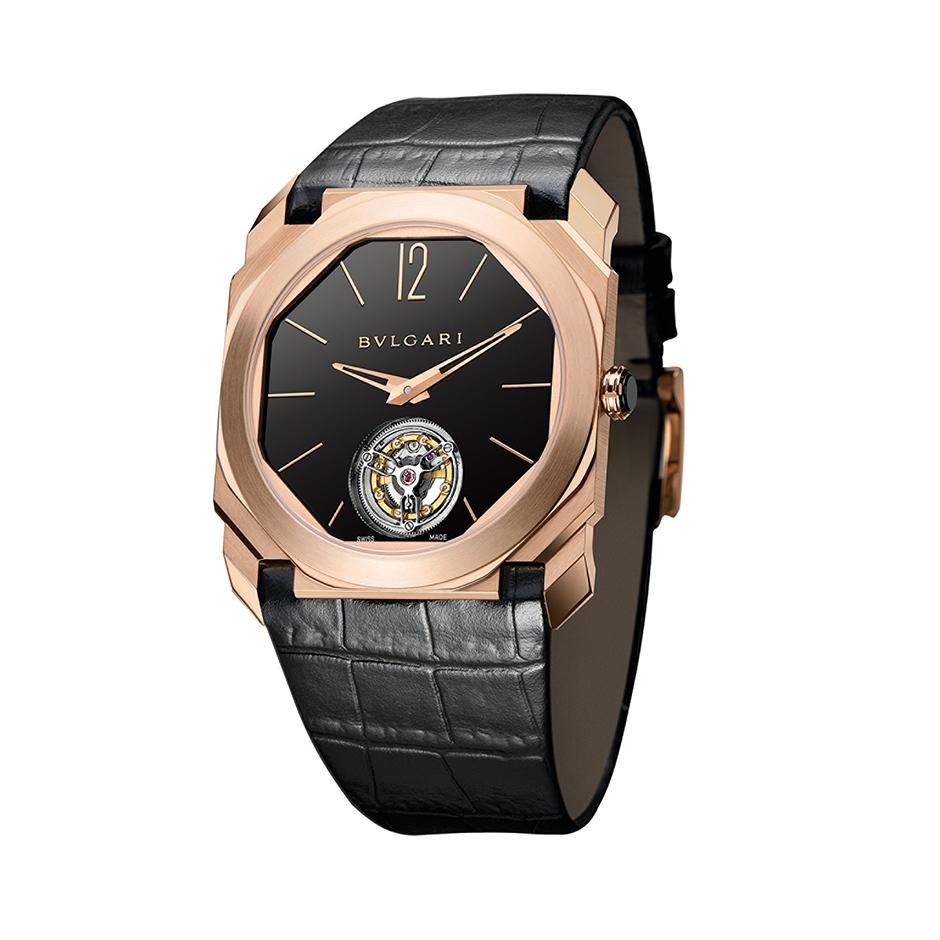 Bulgari Octo Finissimo Tourbillon, 1,95 mm kalınlığındaki tourbillon'uyla dünyanın en ince tourbillon'una sahip saati.