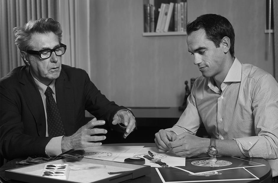 Bryan Ferry & Edouard Meylan'ın tasarım üzerinde çalışırken çekilmiş bir fotoğrafı