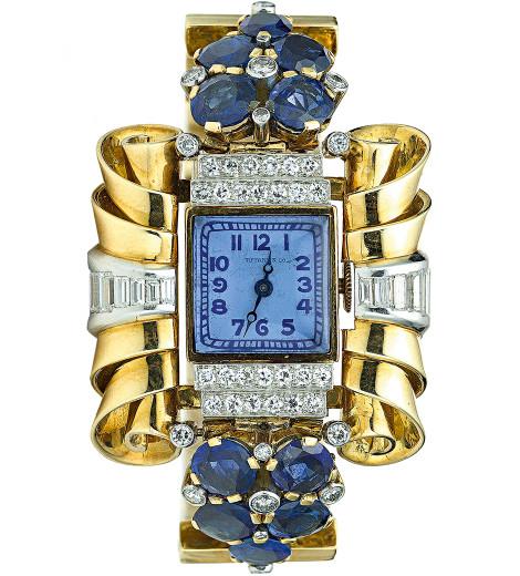 1920'lerden, patentli mavi kadrana sahip Tiffany kokteyl saati